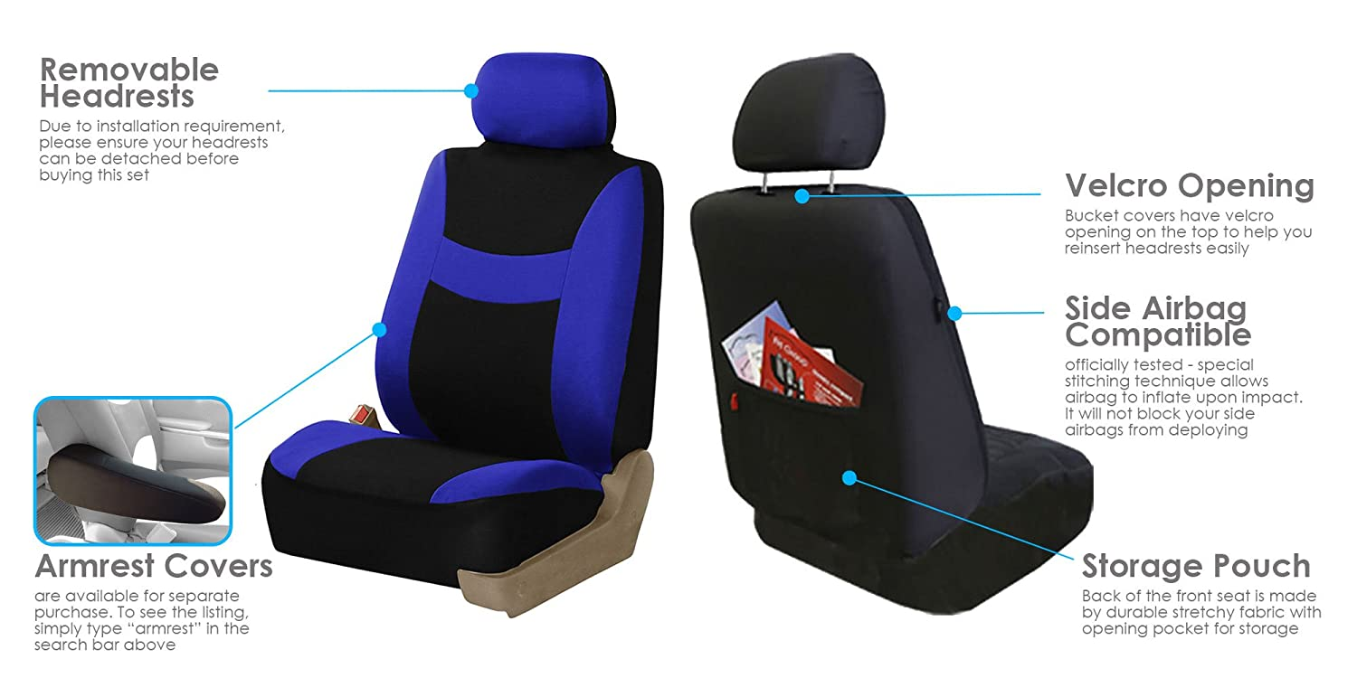 FH Group FB030BEIGEBLACK115-COMBO Seat Cover Combo Set with Steering Wheel Cover and Seat Belt Pad Airbag Compatible and Split Bench Beige//Black