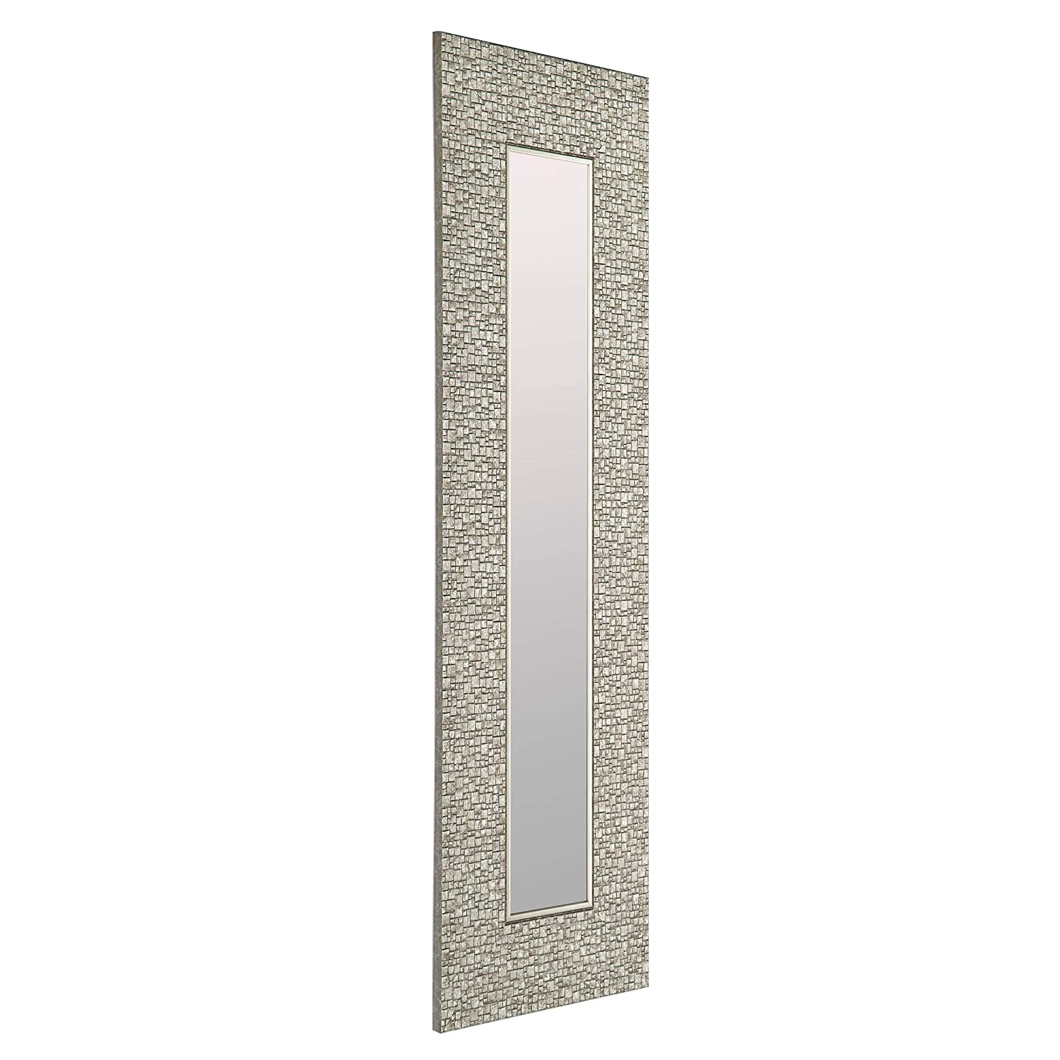 Mirrorize Canada Set of 3 Antique Narrow Mosaic Framed Wall Mirror Vanity,Hallway,Bathroom, Bedroom 9.25X27.75 Silver Rectangle Small Accent Mirror