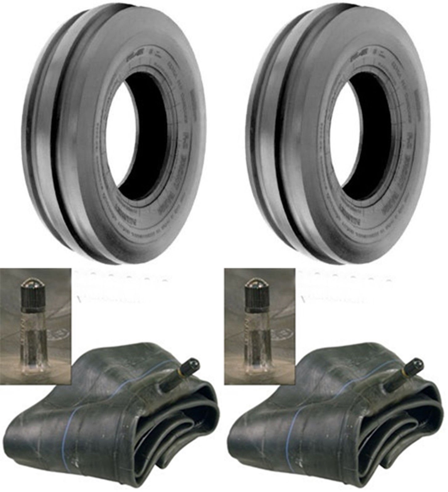 LOT OF TWO (2) 6.00-16 6.00X16 600-16 Tri Rib (3 Rib) F-2 Tires with Tubes HEAVY DUTY 8 PLY RATED