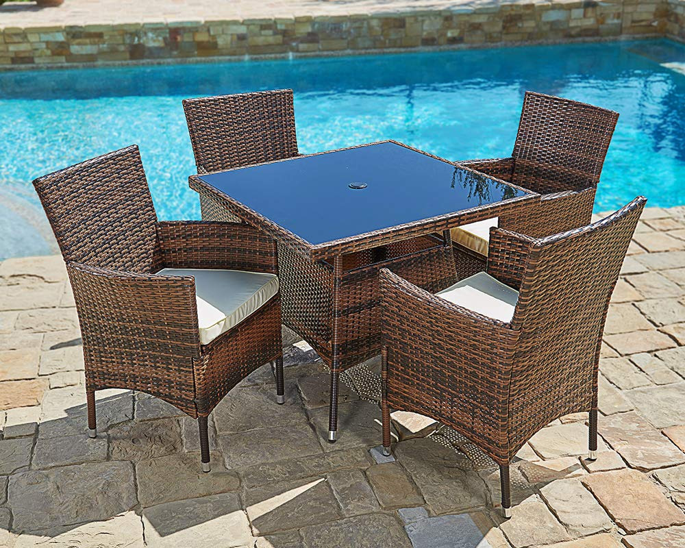 Amazon.com : Suncrown Outdoor Furniture All-Weather Square Wicker ...