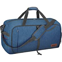 CANWAY 65L Travel Duffel Bag, Foldable Weekender Bag with Shoes Compartment for Men Women Water-Proof & Tear Resistant (Aegean Blue, 65L)