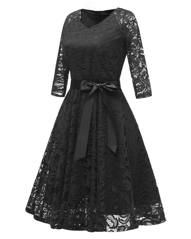 RAISEVERN Abito Donna Eleganti da Cerimonia Lunghi Manica a 1/2 Vestito Lungo Donna Estivo Abito da Sera M