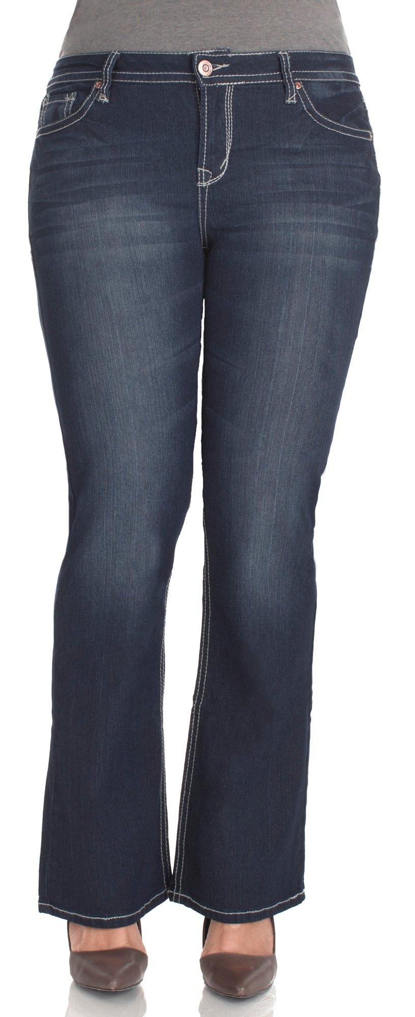 WallFlower Plus Size Plus Short Inseam Basic Legendary Bootcut Jeans in Britney Size: 22 Plus Short
