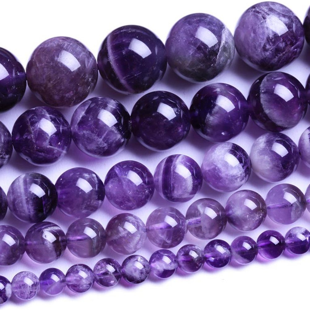 Natural Round Amethyst Agate Loose Stone Beads Bulk For Jewelry Making 4MM, 6MM, 8MM, 10MM ,12MM (10MM) Ruilong