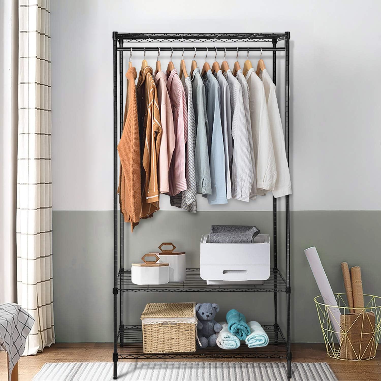 amzdeal Metall Kleiderstange Kleiderst/änder mit Schuhregal und 7 Haken Multifunktionaler mobiler Garderobenst/änder mit R/ädern for Schlafzimmer Flur 150 * 152 * 40
