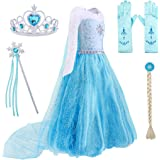 AmzBarley Elsa/Anna Costume for Girls Halloween Princess Cosplay Dress Up Role Play Outfits