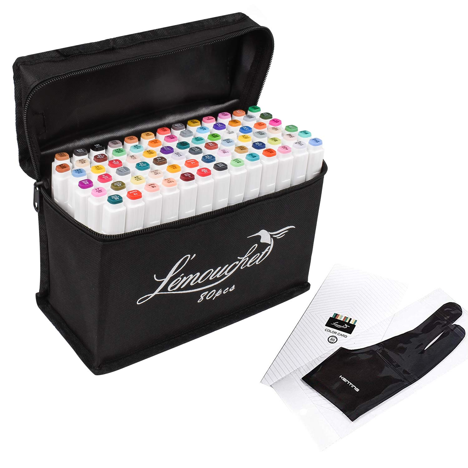 L\'émouchet Dual Tips Art Animation Twin Marker Pens with Carrying Case for Art Sketch Coloring Painting Highlighting Underlining Render Manga and Design, Set of 80 Colors