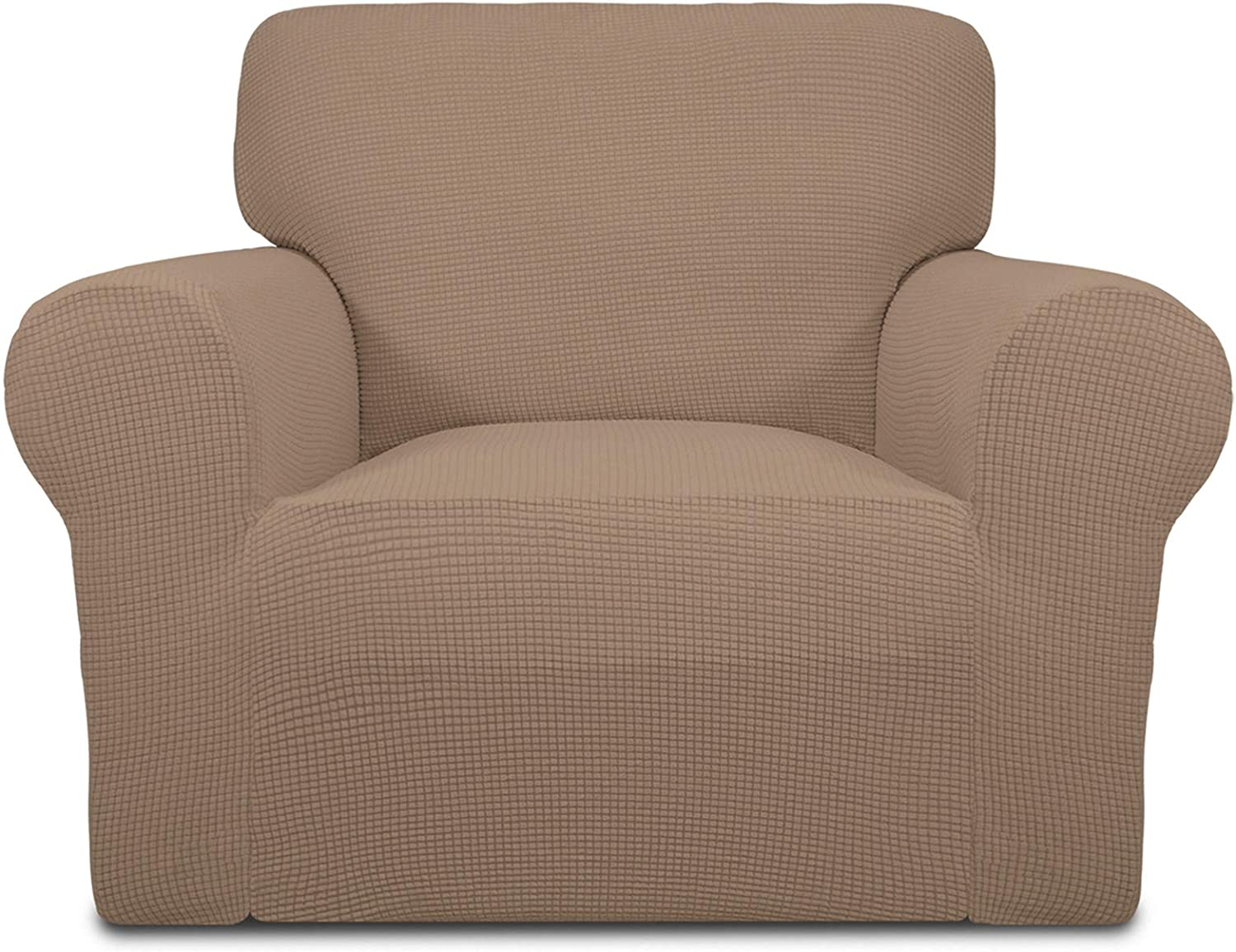 Easy-Going Stretch Oversized Chair Sofa Slipcover 1-Piece Couch Sofa Cover Furniture Protector Soft with Elastic Bottom for Kids Spandex Jacquard Fabric Small Checks Camel