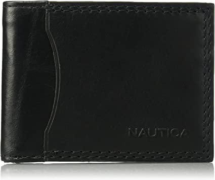 Nautica Men/'s Milled Leather Passcase Wallet Brown One Size Free Shipping