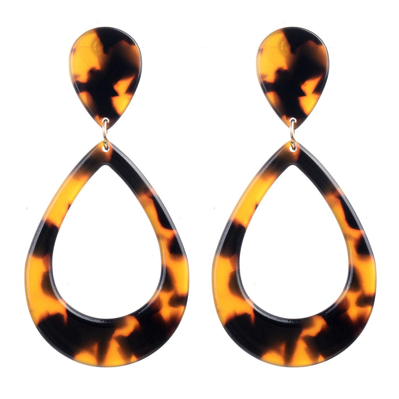 Acrylic Tortoise Shell Leopard Oversized Drop hoop Statement Earrings Dragon Fashion