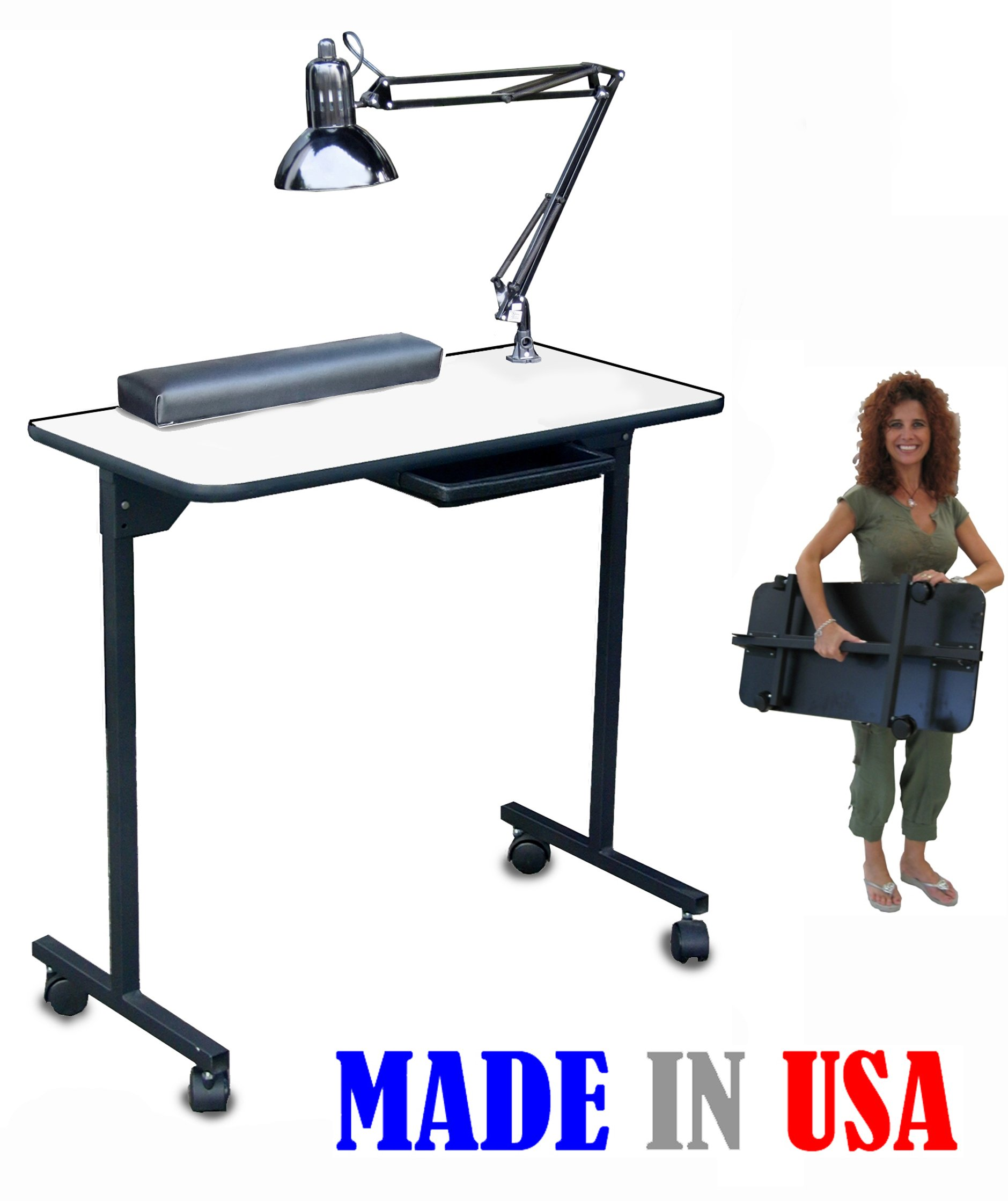 310-DLX Portable w/Foldable Legs Nail Manicure Table White Top by Dina Meri