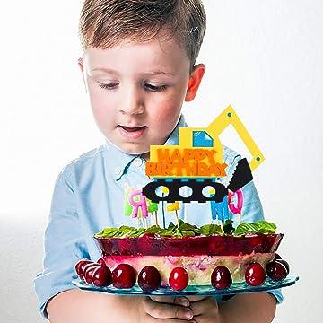 BeYumi Bauwagen Kuchen-Toppers Cupcake Toppers f/ür Kinder Baby Party Geburtstag Party Kuchen Dekoration Supplies