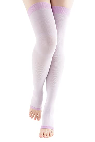 c12db7e97a MD Women's Overnight Sleep Wearing Slimming Compression Colorful Thigh Highs  8-15mmHg Purple9-11