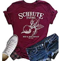 Shejianke Womens Graphic Tee Schrute Farms Shirts Short Sleeve Solid Color Letter Print Summer T-Shirts Graphic Tees