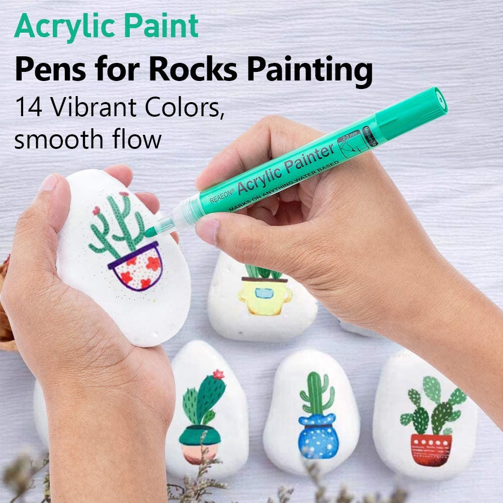 Acrylic Paint Markers Pen Medium Tip Set of 14 Colors Canvas Glass Wood DIY Craft Making Supplies Ceramic Stone Paint Pens for Rock Painting