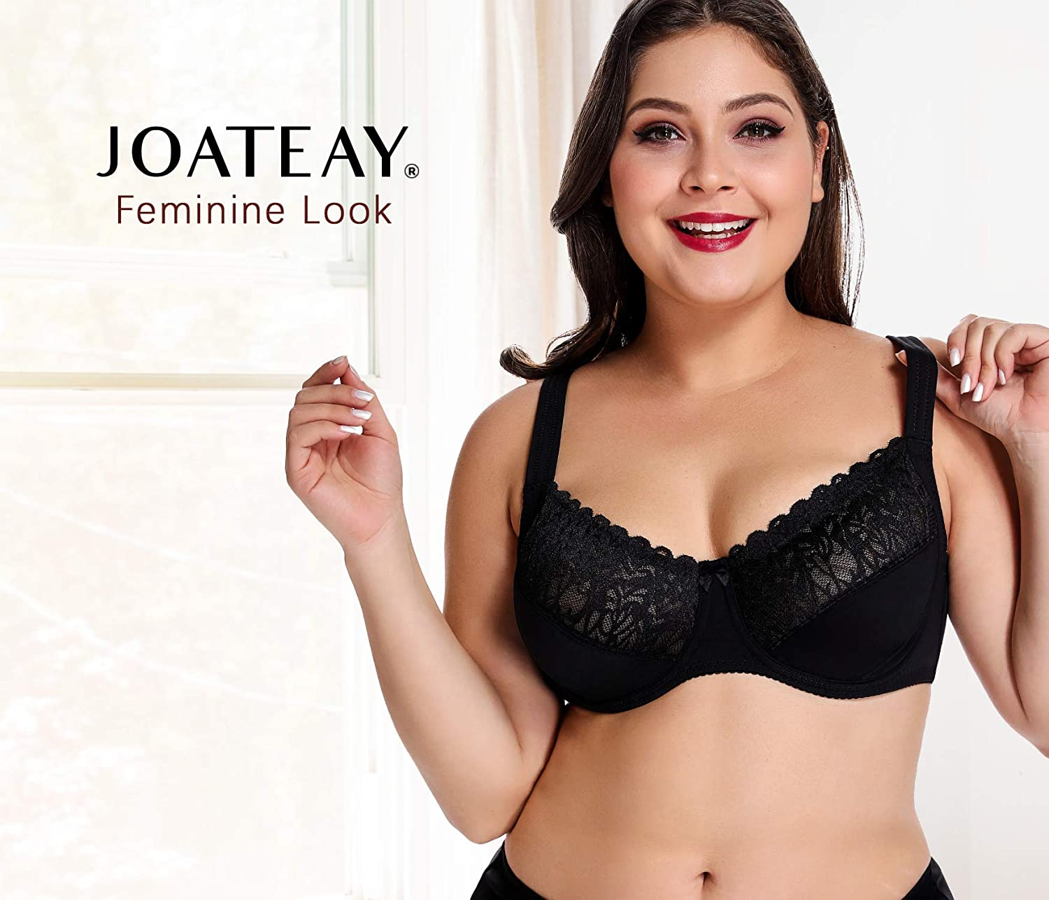 b56f3ab75f JOATEAY Women s Full Figure Bra Beauty Lace Unlined Underwire Support Bra  Plus Size at Amazon Women s Clothing store