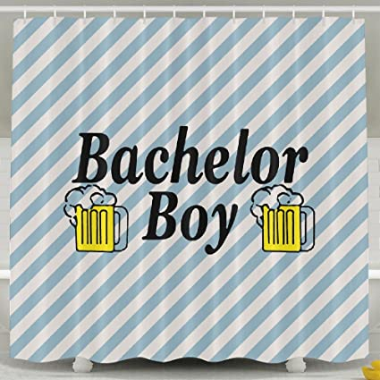 Bachelor Boy Bathroom Shower Curtain Waterproof Bath Decorations Decor Sets With Hooks