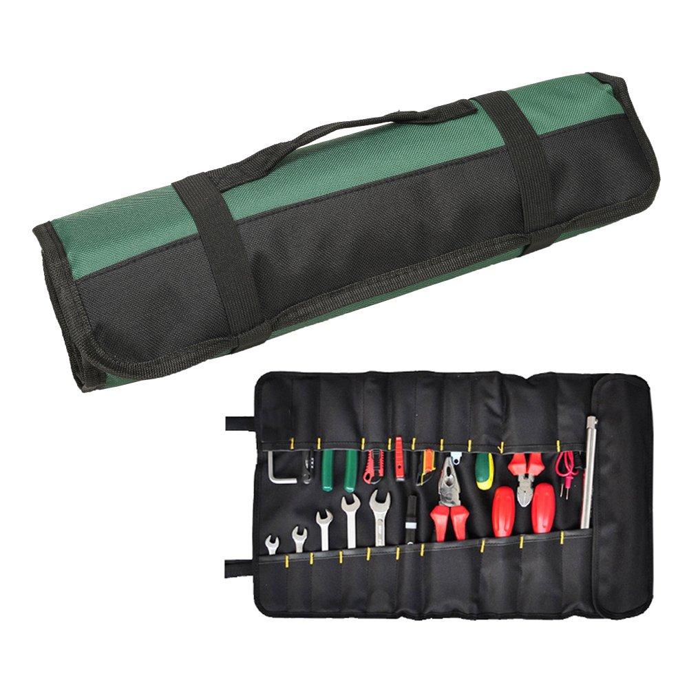 QEES Trousse Outils 22 Pochettes Sacoches Porte-Outils Rouleau de Rangement Multi-usages Pliable Portable Vert