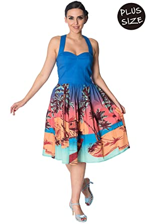 Banned Tropical Strappy Vintage Retro Plus Size Dress At Amazon