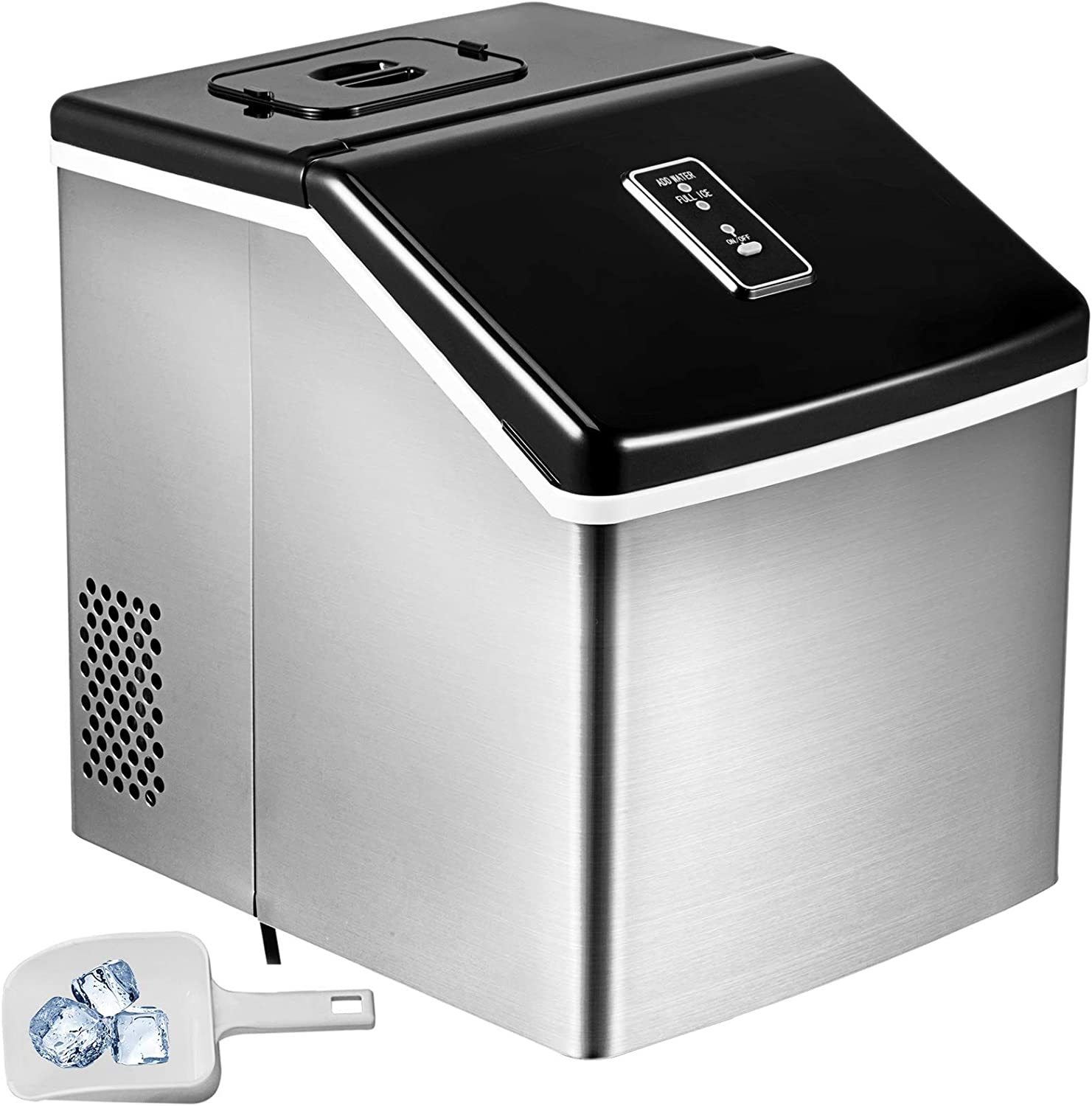 VBENLEM 28LBS 24H Portable Clear Ice Maker Auto Clear Cube Ice Making Machine with Control Panel Stainless Steel Countertop with Ice Scoop Suit for Domestic and Commercial Use