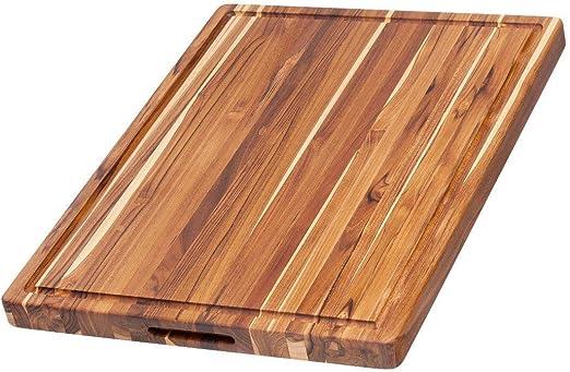 Amazon Com Teak Haus Edge Grain Teakwood Cutting Board With Hand Grips Juice Canal Kitchen Dining