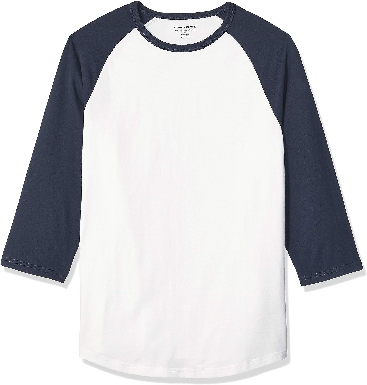 Essentials Mens Slim-fit 3//4 Sleeve Baseball T-Shirt