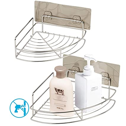 estante esquinas baño ZoomSky 2pcs sin necesidad de taladrar de estante de ducha para colgar ducha de uso en baño y estante baño acero inoxidable ...