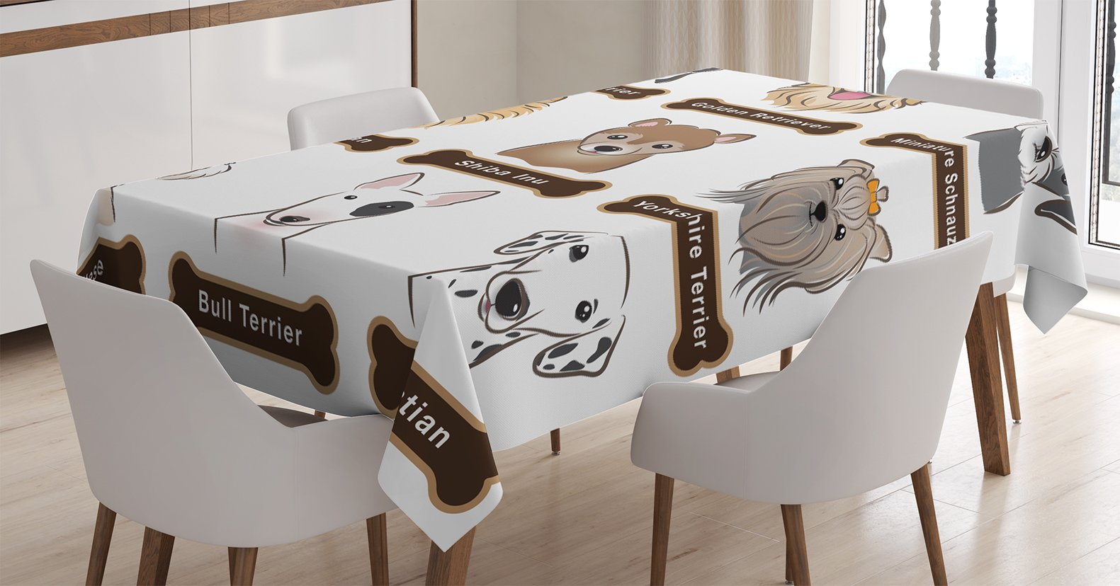 Ambesonne Dog Lover Decor Tablecloth, Various Type of Dogs Nameplate Boston Terrier Domestic Animal Faithful Loyal, Rectangular Table Cover for Dining Room Kitchen, 52x70 inch, Grey Cream White by Ambesonne