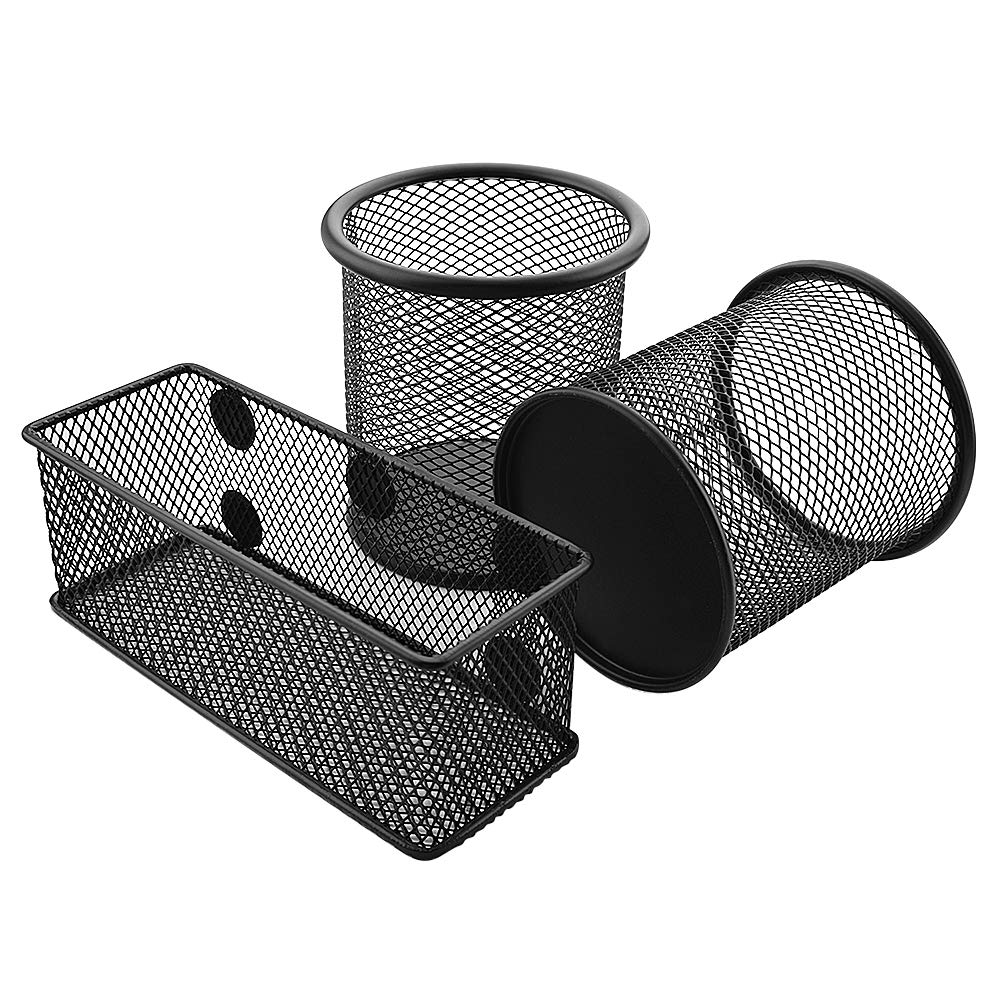 WXJ13 2 Pieces Mesh Pen Holder for Desk and 1 Piece Magnetic Pencil Holder for Whiteboard and Cubicle Desks 5.9 /× 2.4 /× 2.4 inch