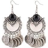 WaMLFac 1 Pair Vintage Tribal Rare Coins tassle Belly Dance Chain Boho Gypsy Hoop Dangle Earrings