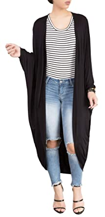 7dafe1d7be5392 Jointlycreating Womens Cardigans Solid High Low Long Sleeve Boho Open Front  Blouses Lightweight, 1Black,