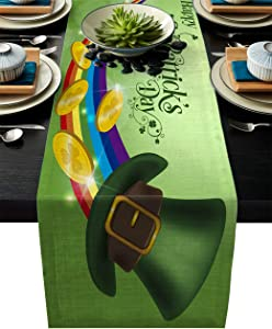 BABE MAPS 18 x 72 inches Long Table Runner for Wedding, St. Patrick Day Table Runners fit Rectange and Round Table Decorations for Birthday Parties, Banquets - Rainbow and Coins in The Leprechaun Hat