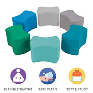 FDP SoftScape Butterfly Stool Modular Seating Set for Toddlers and Kids, Colorful Flexible Seating for Classrooms and Daycares (6-Piece Set) - Contemporary