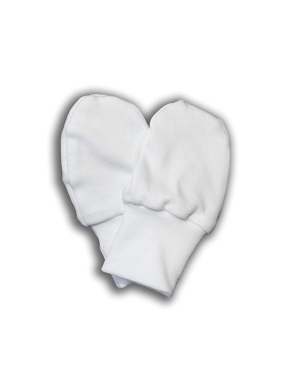 Nanaf Organic Baby-Fäustlinge Weiß Kratzfäustel Handschuhe aus organischer Baumwolle. Warm und Atmungsaktiv