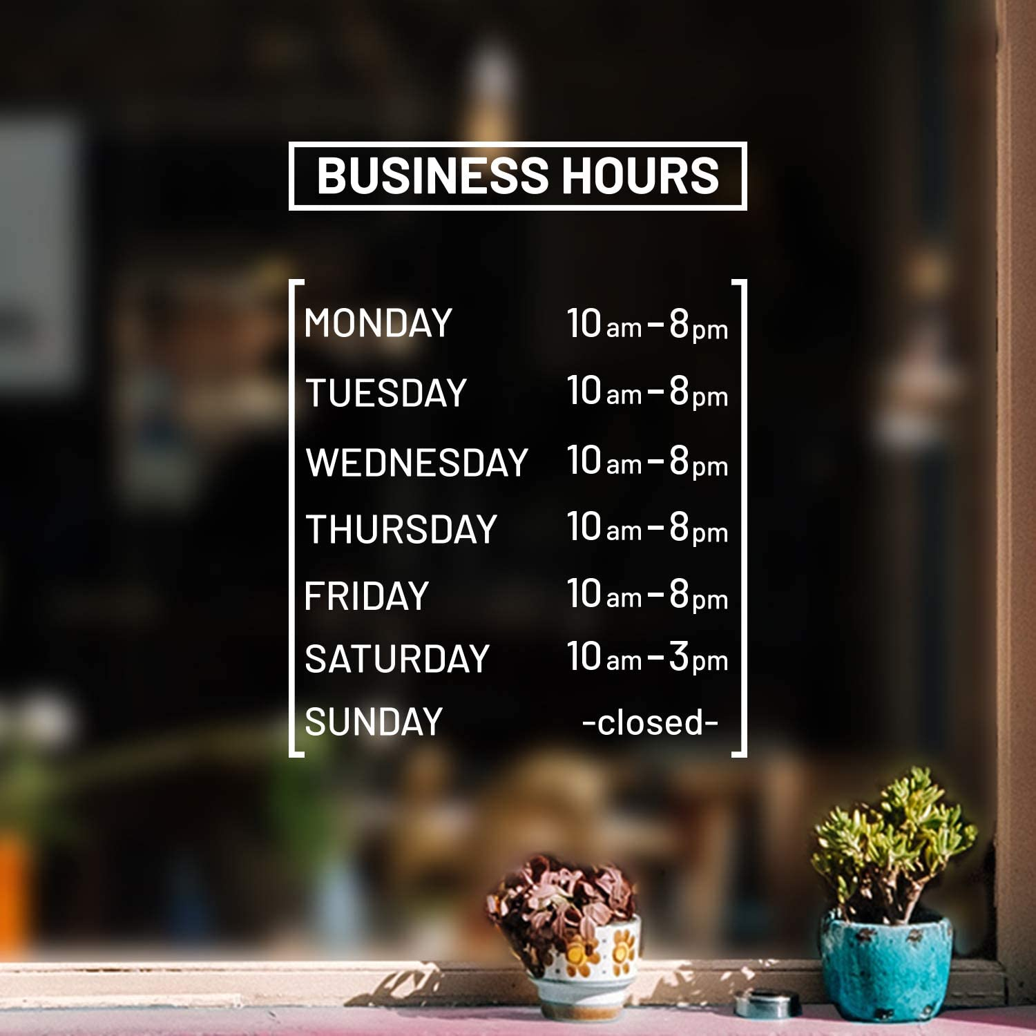 "Vinyl Wall Decal - Custom Business Hours - from 0.5"" to 12"" Each - Modern White Informative Sign for Store Front Restaurant Business Building Shop Indoor Outdoor Decor"