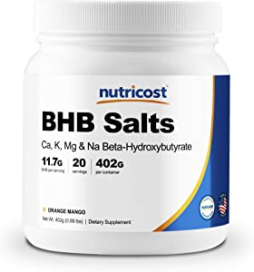 Nutricost 4-in-1 BHB Powder (20 Servings) Orange Mango - Exogenous Ketone Salts - Gluten Free and Non-GMO