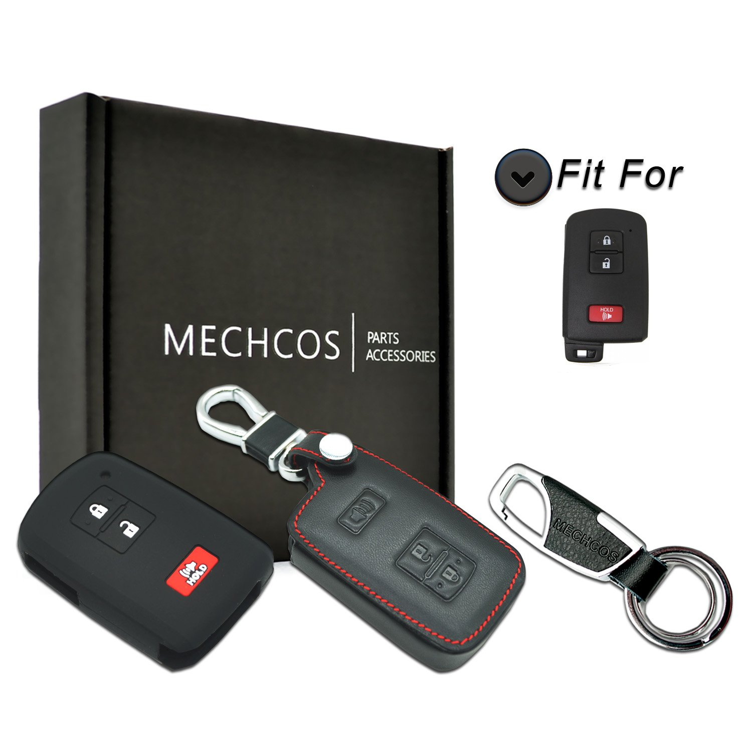 MECHCOS Compatible with fit for HYQ14FBA 2016 2017 Toyota Tacoma Land Cruise Prius V RAV4 3buttons Leather Keyless Entry Remote Control Smart Key Fob Cover Pouch Bag Jacket Case Protector Shell
