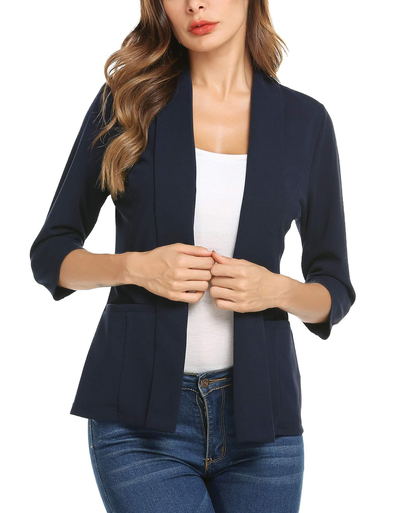 Concep Womens Casual Work Office Blazer Jacket Lightweight Long Sleeve Open Front Cardigans (Navy Blue, XL)