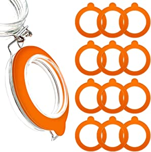 MOYENNE 12 Pieces Silicone Replacement Gaskets Seals for Glass Clip Top Jars Food Grade Rubber, Leakproof Sealing Rings for Standard Sized Canning and Storage Containers (Orange)