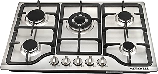 METAWELL New 30 Stainless Steel 5 Burners Cooktops Built-in Stoves Natural Gas Hob Cooker