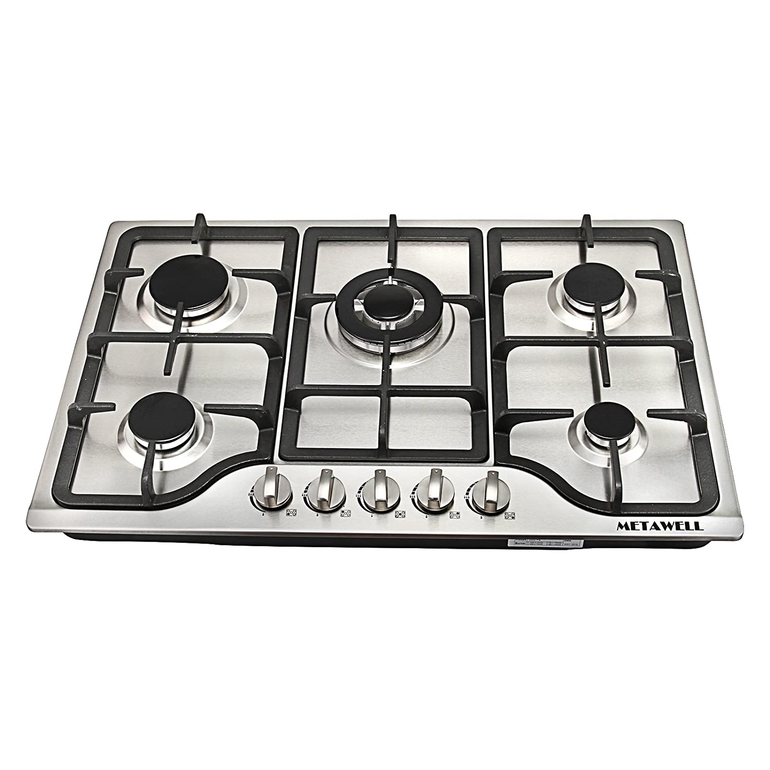 """[Ship from CA,US ] METAWELL New 30"""" Stainless Steel 5 Burner Built-in Stoves Natural Gas Hob Cooktops Cooker"""