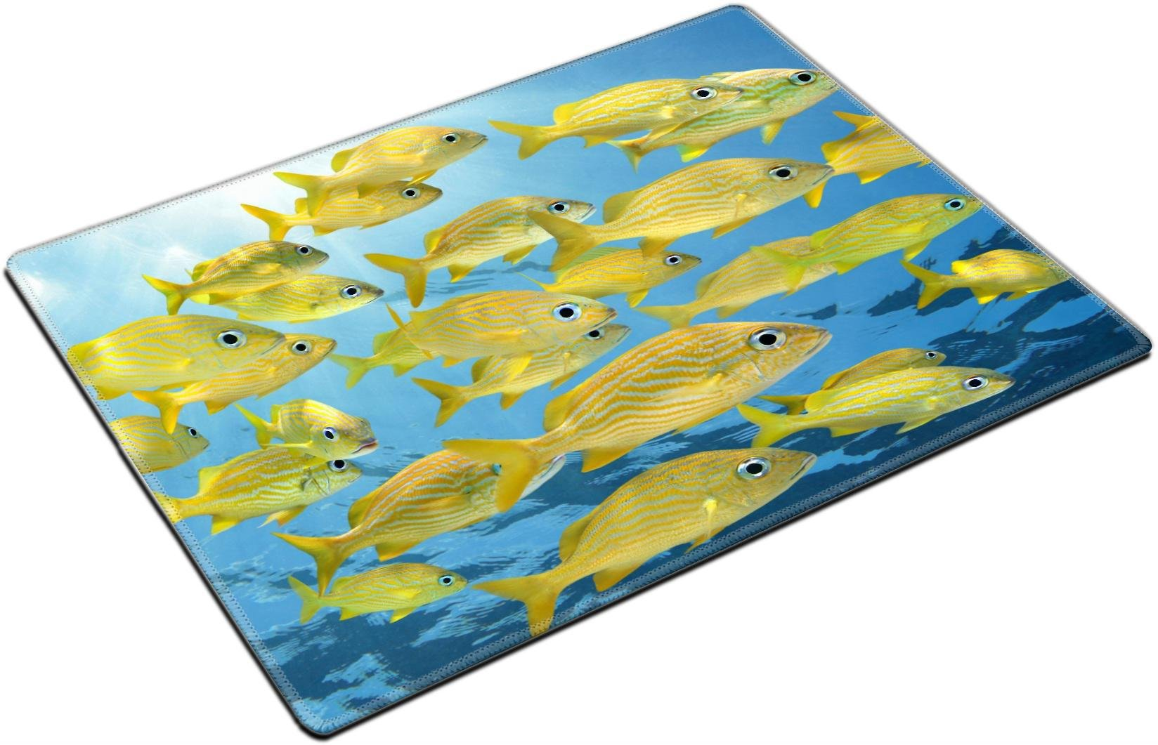 MSD Place Mat Non-Slip Natural Rubber Desk Pads design 34446968 ll School of tropical fish Four eyed Butterflyfish under water surface Caribbean sea