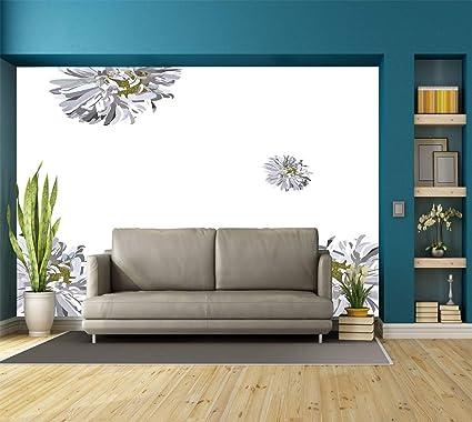 Large Wall Mural Sticker Dahlia Flower Decorflourishing Summer Fusion Poppy Chamomile Purity Icons