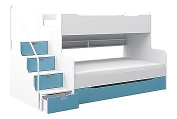 Etagenbett Wickey Crazy Trunky : Etagenbett max 4 mit schubkastentreppe in weiß blau: amazon.de