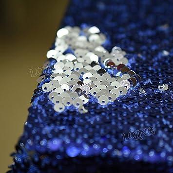Tela de lentejuelas de sirena, color azul oscuro, plateado, tela de lentejuelas reversibles