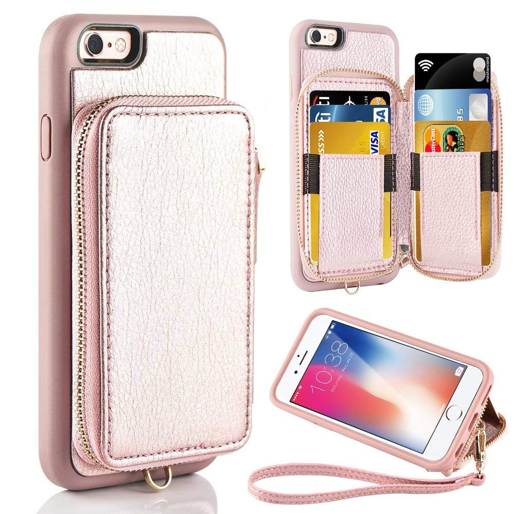 iPhone 6 Plus Wallet Case, iPhone 6 Plus Card Holder Case, ZVE iPhone 6 Plus Leather Cases with Credit Card Slot & Zipper Wallet Purse, Protective Cover for Apple 6 Plus/Apple 6s Plus- Rose Gold by ZVEdeng (Image #1)