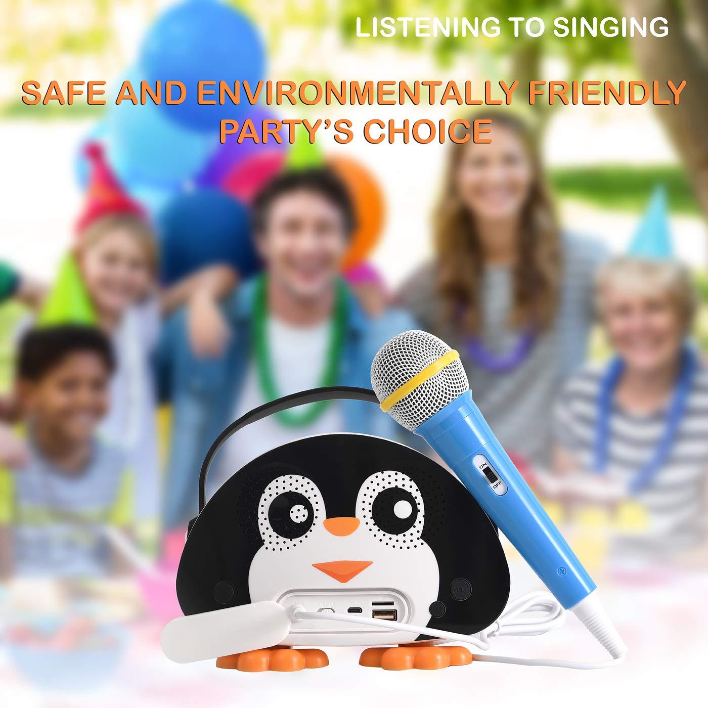 HowQ Outdoor Toys Karaoke Machine , Portable Kids Karaoke Bluetooth Speaker Wireless Cartoon Speaker for Kids for Indoor Toys Travel Activities with Microphone Penguin Karaoke Machine(Black-White) by HowQ (Image #8)