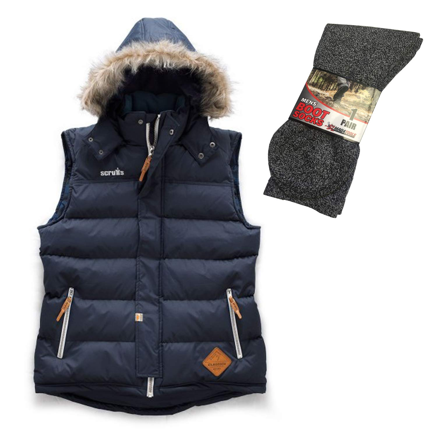 mad4tools Scruffs Classic Vintage Gilet with Grey Boot Socks