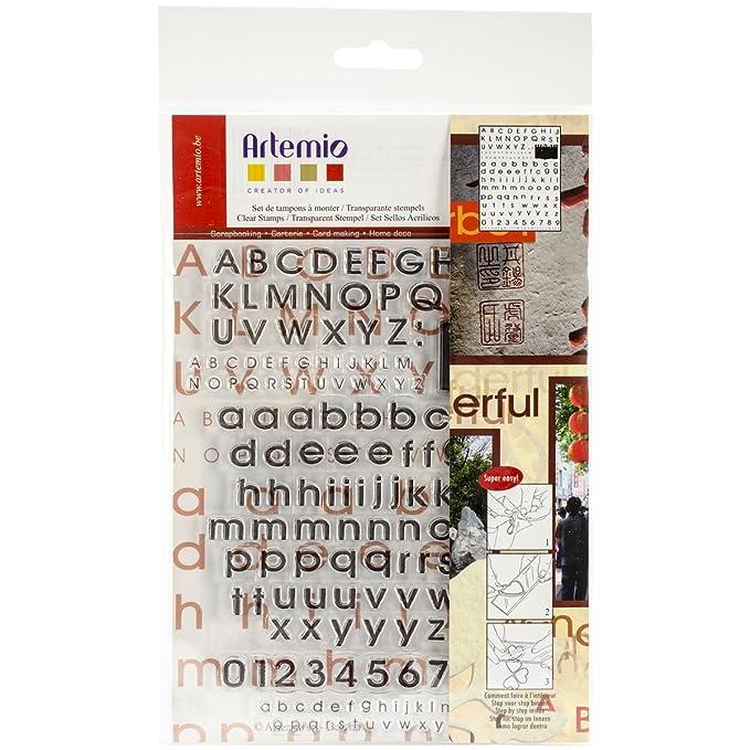 Artemio 10001164 Tampon Alphabet Imprimé Transparent Plastique Multicolore 16,5 x 0,3 x 26,8 cm
