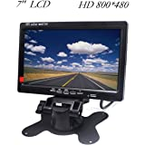 """HD Car Monitor Padarsey 7"""" HD 800×480 LED Backlight TFT LCD Monitor for Car Rearview Cameras, Car DVD, Serveillance Camera, STB, Satellite Receiver and other Video Equipment"""